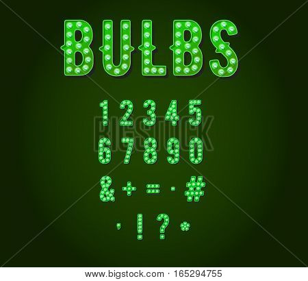 Green Neon Casino or Broadway Signs style light bulb Digits or Numbers in Vector