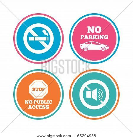 Stop smoking and no sound signs. Private territory parking or public access. Cigarette symbol. Speaker volume. Colored circle buttons. Vector