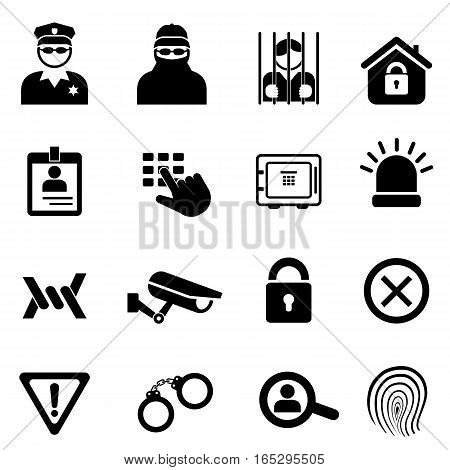 Security, crime and safety related icon set in black