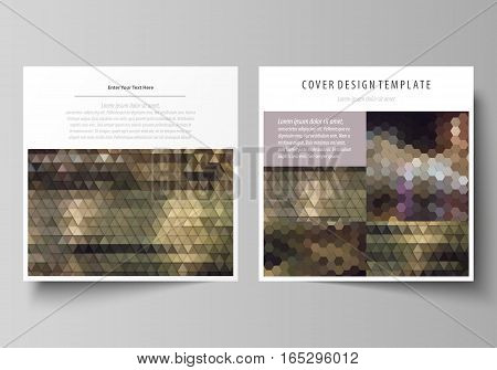 Business templates for square design brochure, magazine, flyer, booklet or annual report. Leaflet cover, abstract flat layout, easy editable vector. Abstract multicolored backgrounds. Geometrical patterns. Triangular and hexagonal style.