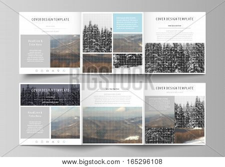 Set of business templates for tri fold square design brochures. Leaflet cover, abstract flat layout, easy editable vector. Abstract landscape of nature. Dark color pattern in vintage style, mosaic texture.