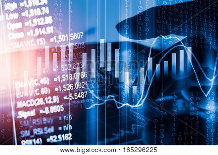 Stock Market Indicator And Financial Data View From Led. Double Exposure  Financial Graph And Stock