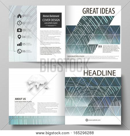 Business templates for square design bi fold brochure, magazine, flyer, booklet or annual report. Leaflet cover, abstract flat layout, easy editable vector. Technology background in geometric style made from circles.