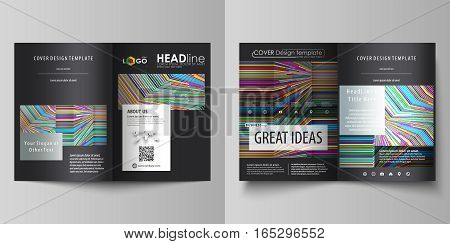 Business templates for bi fold brochure, magazine, flyer, booklet or annual report. Cover design template, easy editable vector, abstract flat layout in A4 size. Bright color lines, colorful style with geometric shapes forming beautiful minimalist backgro