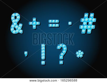 Casino or Broadway Signs style light bulb Special Symbols in Vector