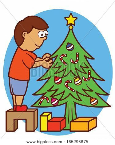 Little Boy Standing on Small Wooden Bench Decorating Christmas Tree Cartoon Illustration