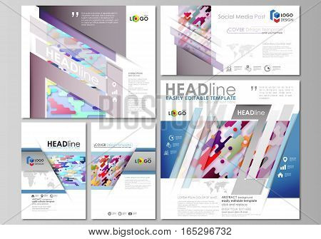 Social media posts set. Business templates. Easy editable abstract flat design template, vector layouts in popular formats. Bright color lines and dots, colorful minimalist backdrop with geometric shapes forming beautiful minimalistic background.