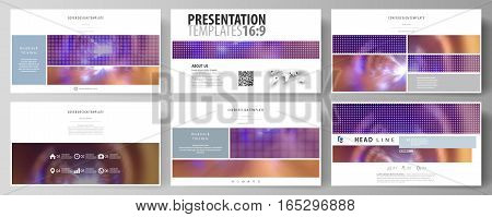 Business templates in HD format for presentation slides. Easy editable abstract vector layouts in flat design. Bright color colorful design, beautiful futuristic background.