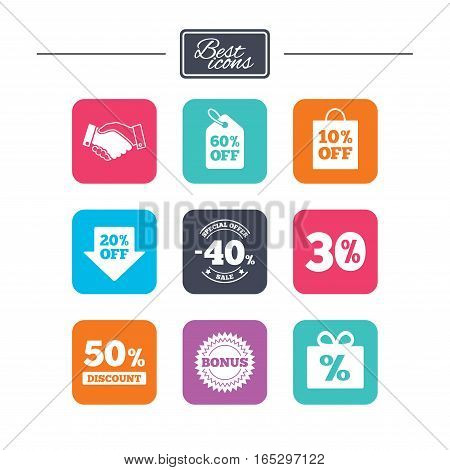 Sale discounts icon. Shopping, handshake and bonus signs. 20, 30, 40 and 50 percent off. Special offer symbols. Colorful flat square buttons with icons. Vector
