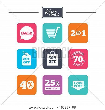 Sale discounts icon. Shopping cart, coupon and low price signs. 25, 40 and 60 percent off. Special offer symbols. Colorful flat square buttons with icons. Vector