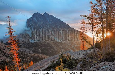 Mount Stuart at dawn, Alpine Lakes Wilderness