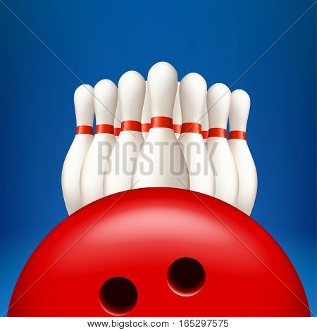 illustration of white pins with red bowling ball on blue background