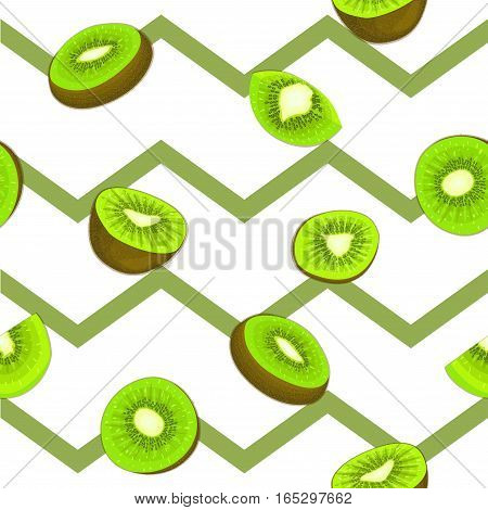 Seamless vector pattern of ripe kiwifruit. Striped zig zag background with delicious juicy green kiwi slice half leaves. Vector fresh fruit Illustration for printing on fabric textile design packaging