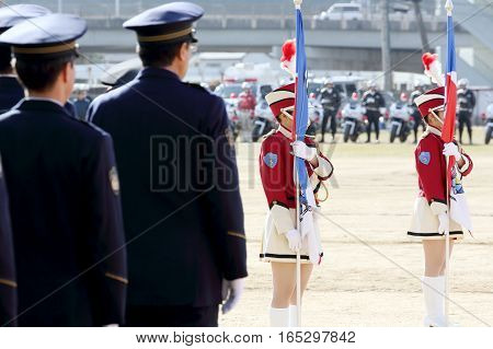 KAGAWA, JAPAN - JANUARY 6: Japanese police officers perform at the parade, Sietusiki ceremony. January 6, 2017 in Kagawa, Japan.