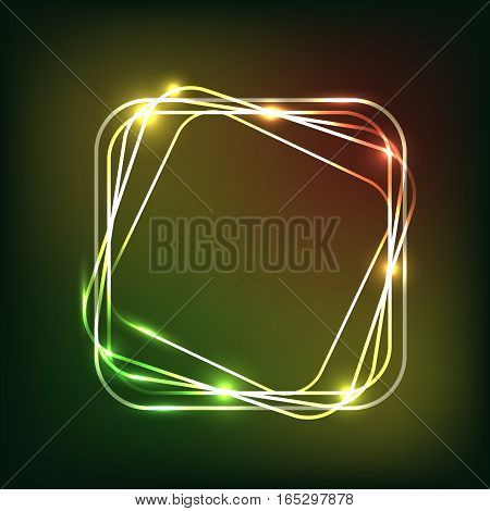 Abstract colorful neon background with rounded rectangle, stock vector
