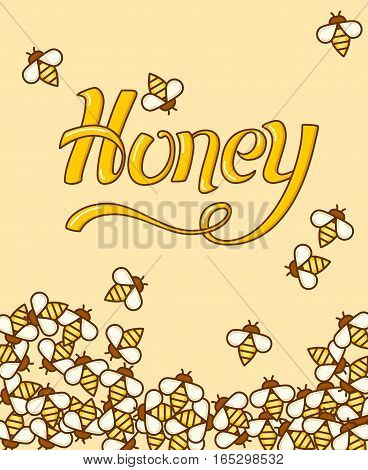 A lot sweet bees the sheet paper. Outline flat style