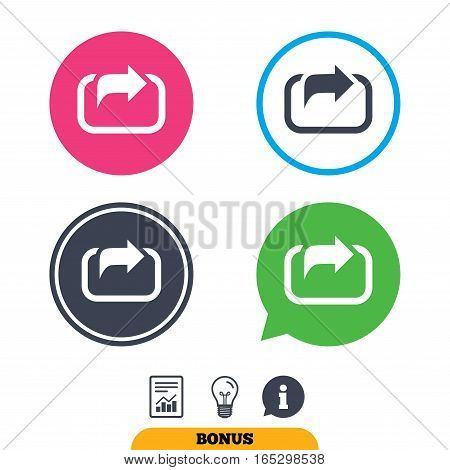 Action sign icon. Share symbol. Report document, information sign and light bulb icons. Vector