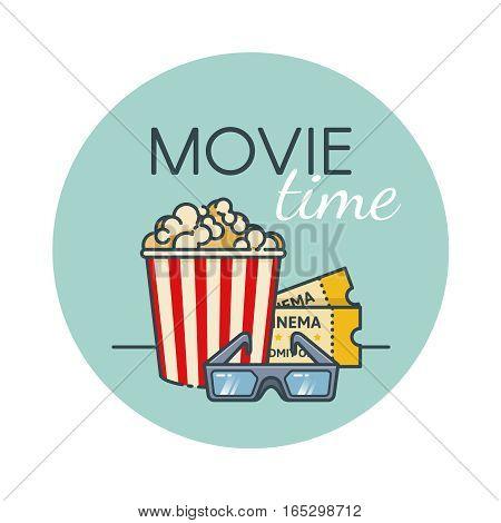 Popcorn bucket, film ticket and 3d glasses. Cinema snack.