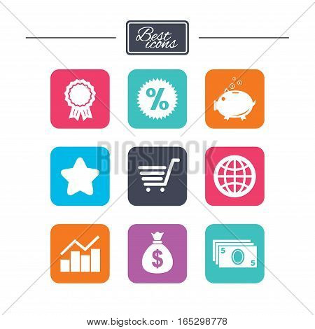 Online shopping, e-commerce and business icons. Piggy bank, award and star signs. Cash money, discount and statistics symbols. Colorful flat square buttons with icons. Vector