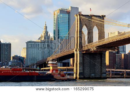 Brooklyn Bridge With Cityscape In The Background