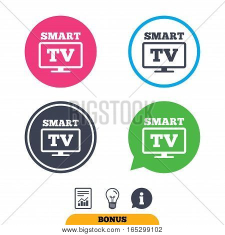 Widescreen Smart TV sign icon. Television set symbol. Report document, information sign and light bulb icons. Vector