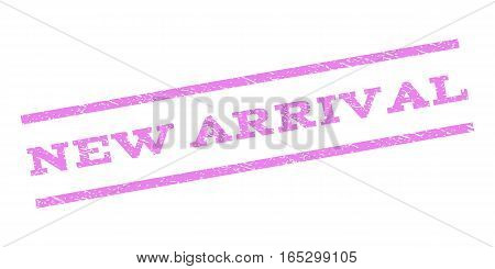 New Arrival watermark stamp. Text caption between parallel lines with grunge design style. Rubber seal stamp with scratched texture. Vector violet color ink imprint on a white background.