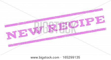 New Recipe watermark stamp. Text tag between parallel lines with grunge design style. Rubber seal stamp with dust texture. Vector violet color ink imprint on a white background.