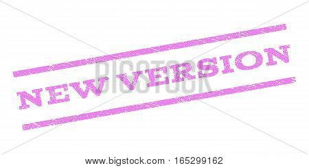 New Version watermark stamp. Text tag between parallel lines with grunge design style. Rubber seal stamp with unclean texture. Vector violet color ink imprint on a white background.