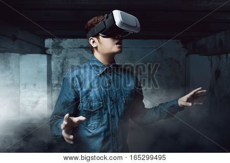 Man using virtual reality headset high tech