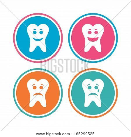 Tooth smile face icons. Happy, sad, cry signs. Happy smiley chat symbol. Sadness depression and crying signs. Colored circle buttons. Vector