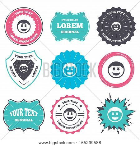 Label and badge templates. Smile face sign icon. Happy smiley with hairstyle chat symbol. Retro style banners, emblems. Vector