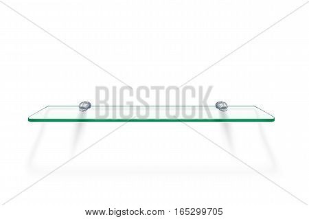 illustration of transparent glass shelf with soft shadow on white background