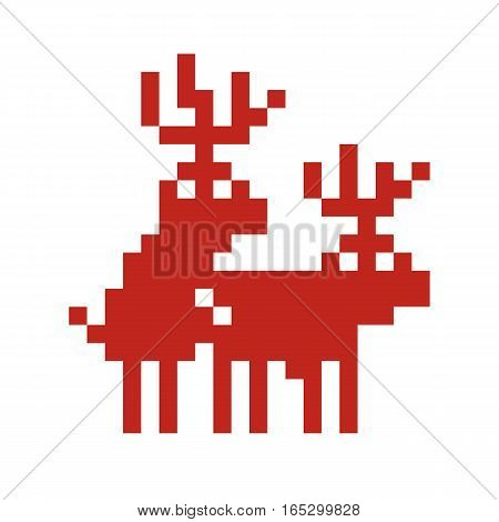 Pixel art style retro game two deers making love isolated vector illustration