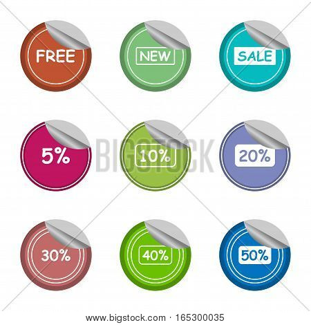 sale,new,free,and percentage sticker label set,vector Illustration EPS10