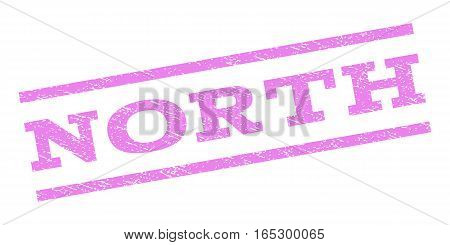 North watermark stamp. Text caption between parallel lines with grunge design style. Rubber seal stamp with dust texture. Vector violet color ink imprint on a white background.