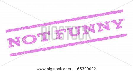 Not Funny watermark stamp. Text tag between parallel lines with grunge design style. Rubber seal stamp with unclean texture. Vector violet color ink imprint on a white background.