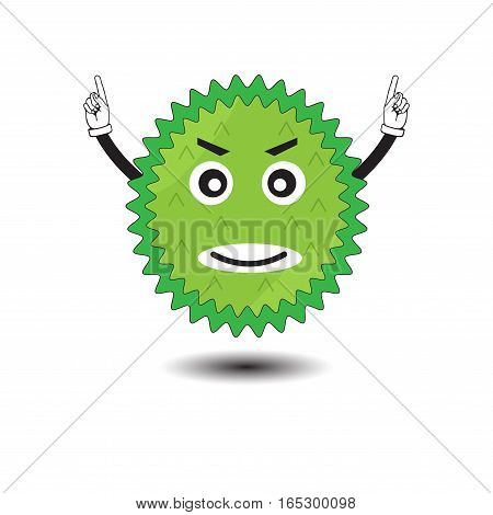 durian cartoon character design fruit,vector Illustration EPS10