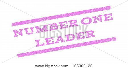 Number One Leader watermark stamp. Text caption between parallel lines with grunge design style. Rubber seal stamp with dust texture. Vector violet color ink imprint on a white background.