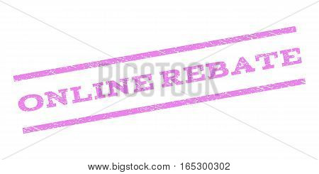 Online Rebate watermark stamp. Text tag between parallel lines with grunge design style. Rubber seal stamp with dirty texture. Vector violet color ink imprint on a white background.