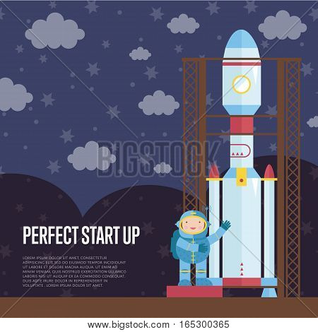 Perfect start up cartoon banner. Astronaut in spacesuit standing neat space rocket on launching pad on night starry sky with clouds background.
