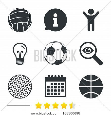 Sport balls icons. Volleyball, Basketball, Soccer and Golf signs. Team sport games. Information, light bulb and calendar icons. Investigate magnifier. Vector