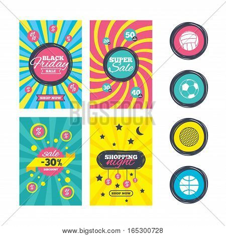 Sale website banner templates. Sport balls icons. Volleyball, Basketball, Soccer and Golf signs. Team sport games. Ads promotional material. Vector