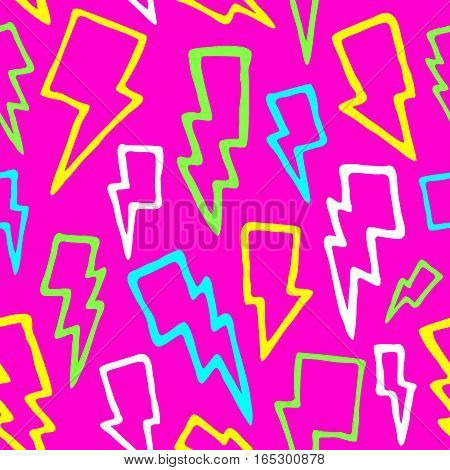 Colorful comic thunder bolts seamless vector background pink