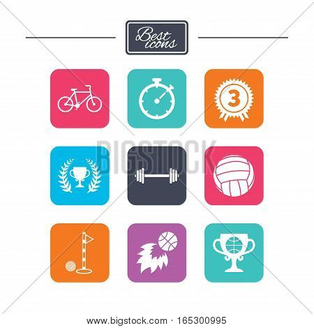 Sport games, fitness icons. Golf, basketball and volleyball signs. Timer, bike and winner cup symbols. Colorful flat square buttons with icons. Vector