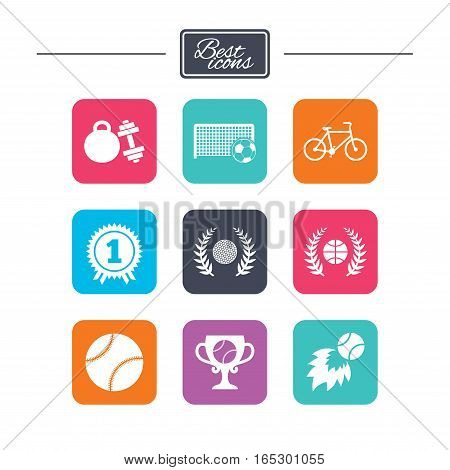 Sport games, fitness icons. Football, basketball and tennis signs. Golf, bike and winner medal symbols. Colorful flat square buttons with icons. Vector