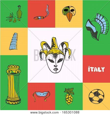 Italy checkered concept in national colors. Venetian carnival mask, gladiator helmet, cigar, olive oil, Pisa tower, grapes, football hand drawn vector icons. Country related doodle symbols and text