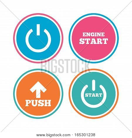 Power icons. Start engine symbol. Push or Press arrow sign. Colored circle buttons. Vector