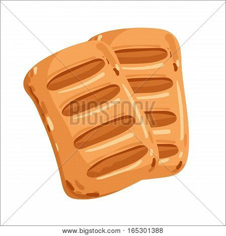Puff pastry isolated on white background cartoon vector illustration. Bakery product, fresh pastry food icon. Sweet dessert, tasty puff pastry logo, natural bread food, bakery shop design element.