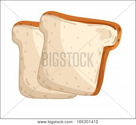 Fresh toast bread isolated on white background cartoon vector illustration. Bakery product, fresh pastry food icon. Tasty toast bread logo, traditional and natural food, bakery shop design element.