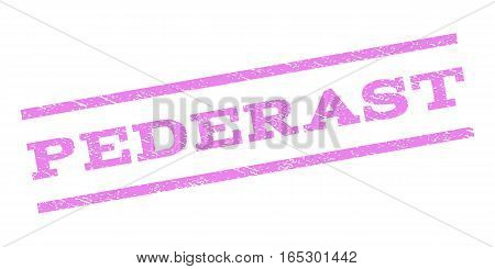 Pederast watermark stamp. Text tag between parallel lines with grunge design style. Rubber seal stamp with dirty texture. Vector violet color ink imprint on a white background.